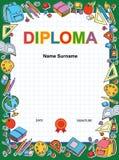 Molde do projeto do fundo do certificado do diploma das crianças Foto de Stock