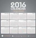 Molde do projeto do fundo do tom da cor do cinza do calendário 2016 Fotos de Stock Royalty Free