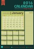 Molde do projeto do fundo do tom da cor verde do calendário 2016 com grupo de 12 meses Foto de Stock