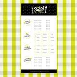 Molde do projeto do menu do restaurante da salada com logotipo Imagens de Stock
