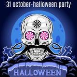 Molde do projeto do partido de Dia das Bruxas para o cartaz Crânio engraçado Vetor Fotos de Stock