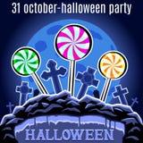 Molde do projeto do partido de Dia das Bruxas para o cartaz Doces no cemeter Fotos de Stock Royalty Free