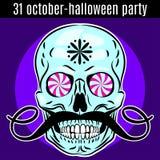 Molde do projeto do partido de Dia das Bruxas para o cartaz, inseto Crânio engraçado Imagem de Stock Royalty Free