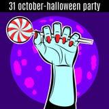 Molde do projeto do partido de Dia das Bruxas para o cartaz, inseto Mão com lata Imagem de Stock Royalty Free