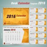 Molde do projeto do vetor do calendário de mesa 2016 com teste padrão abstrato Fotos de Stock