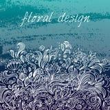 Molde do projeto do vetor Ornamento floral branco no fundo azul ilustração stock
