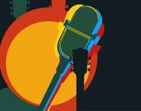 Molde do projeto do vetor, tema da música Guitarra e microfone retro Imagens de Stock Royalty Free