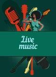 Molde do projeto do vetor, tema da música Guitarra e microfone retro fotografia de stock