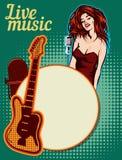 Molde do projeto do vetor, tema da música Guitarra e microfone retro imagem de stock