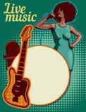 Molde do projeto do vetor, tema da música Guitarra e microfone retro imagem de stock royalty free