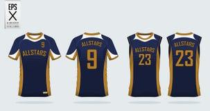 Molde do projeto do esporte da camisa de T para o jérsei de futebol, jogo do futebol Imagem de Stock