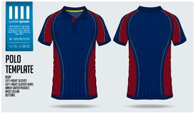 Molde do projeto do esporte da camisa do polo t para o jérsei de futebol, o jogo do futebol ou o clube de esporte Ostente o unifo Foto de Stock Royalty Free