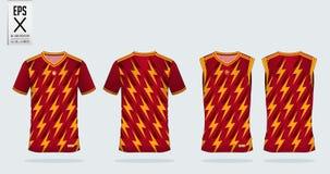 Molde do projeto do esporte do t-shirt do teste padrão do raio para o jérsei de futebol, o jogo do futebol e a camiseta de alças  Fotos de Stock