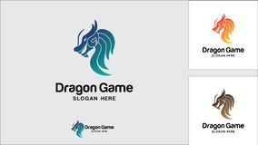 Molde do projeto do logotipo do dragão, ilustração do vetor, logotipo do jogo ilustração stock