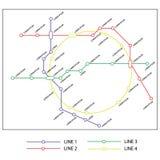 Molde do projeto do mapa do metro ou do metro esquema do transporte da cidade ilustração stock