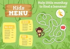 Molde do projeto do menu do alimento das crianças ilustração do vetor