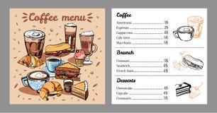 Molde do projeto do menu do café com lista de bebidas, de alimento e de sobremesas do café r ilustração stock