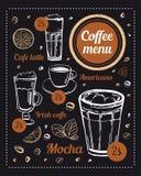 Molde do projeto do menu do caf? Esbo?o tirado m?o do vetor de bebidas diferentes do caf? com t?tulos e de pre?os do fundo do qua ilustração do vetor