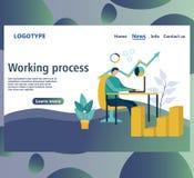 Molde do projeto do página da web Processo de trabalho Página da aterrissagem ilustração do vetor