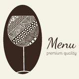 Molde do projeto para o menu com um copo de vinho Fotos de Stock Royalty Free