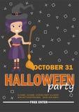 Molde do projeto do partido de Dia das Bruxas com menina da bruxa - cartaz para que o convite party Ilustração do Vetor