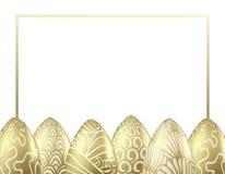 Molde do projeto do vetor com os ovos da páscoa dourados realísticos ilustração do vetor