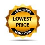 Molde do sinal da etiqueta do ouro da garantia do mais baixo preço ilustração stock