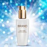 Molde do tubo da garrafa de tonalizador da pele para anúncios ou fundo do compartimento Imagem de Stock Royalty Free