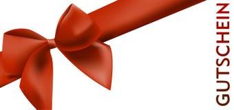 Molde do vale-oferta com fita vermelha e palavra Gutschein alemão para o comprovante ilustração royalty free