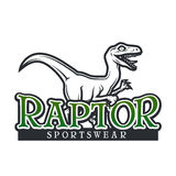 Molde do vetor de Dino Logo Projeto do logotype da mascote do esporte da ave de rapina Crachá do esporte da High School do vintag Fotos de Stock Royalty Free