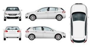 Molde do vetor do carro do carro com porta traseira no fundo branco ilustração stock