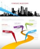 Molde do vetor do espaço temporal dos marcos miliários da empresa de Infographic Imagens de Stock Royalty Free