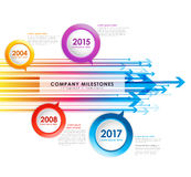 Molde do vetor do espaço temporal dos marcos miliários da empresa de Infographic Foto de Stock Royalty Free
