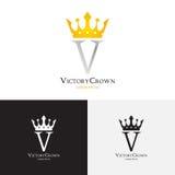 Molde do vetor do logotipo da coroa da vitória Imagem de Stock