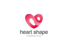 Molde do vetor do projeto do logotipo do coração Dia de são valentim do St de símbolo do amor Ícone médico do conceito do Logotyp Fotos de Stock Royalty Free
