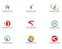 Molde do vetor do projeto do logotipo do cuidado dos povos da saúde Fotos de Stock