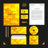Molde do vetor do negócio da identidade corporativa O estilo da empresa ajustou-se em tons amarelos com teste padrão transparente Fotografia de Stock Royalty Free