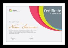 Molde do vetor para o certificado, diploma colorido Fotos de Stock