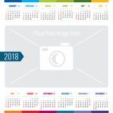 Molde do vetor do planejador de evento 2018 do calendário do dia ilustração stock
