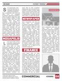 Molde do vetor do tabloide do papel diário Fotos de Stock