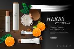 Molde do Web site dos cosméticos, produtos frescos das ervas na textura de madeira da placa, ilustração do vetor ilustração do vetor