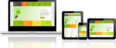 Molde do Web site em dispositivos múltiplos Fotos de Stock