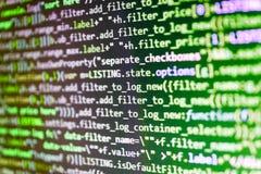 Molde do Web site, foco seletivo fluxo de informação da nuvem Códigos do site no programador do monitor do computador que trabalh fotografia de stock royalty free