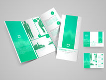 Molde dobrável em três partes profissional do folheto, do catálogo e do inseto para bu Imagem de Stock