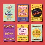 Molde dos cumprimentos do outono que gira o grupo de cartões Imagens de Stock Royalty Free