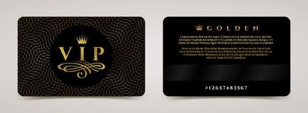 Molde dourado do cartão do VIP - datilografe o projeto com coroa, e floresça o elemento em um fundo do guilloche ilustração royalty free