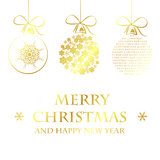 Molde dourado do Feliz Natal ilustração royalty free