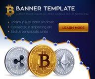 Molde editável da bandeira de Cryptocurrency Bitcoin, Ethereum, ondinha moedas douradas 3D e de prata físicas isométricas ilustração royalty free