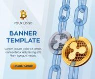 Molde editável da bandeira da moeda cripto ripple moeda física isométrica do bocado 3D A ondinha dourada e de prata inventa com w ilustração stock
