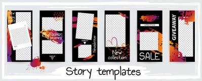 Molde editável na moda para histórias sociais das redes, ilustração do vetor ilustração royalty free